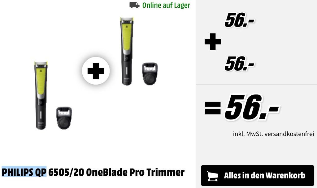 Doppelpack: Philips OneBlade Pro Rasierer QP6505/20 für 56€ (statt 112€)