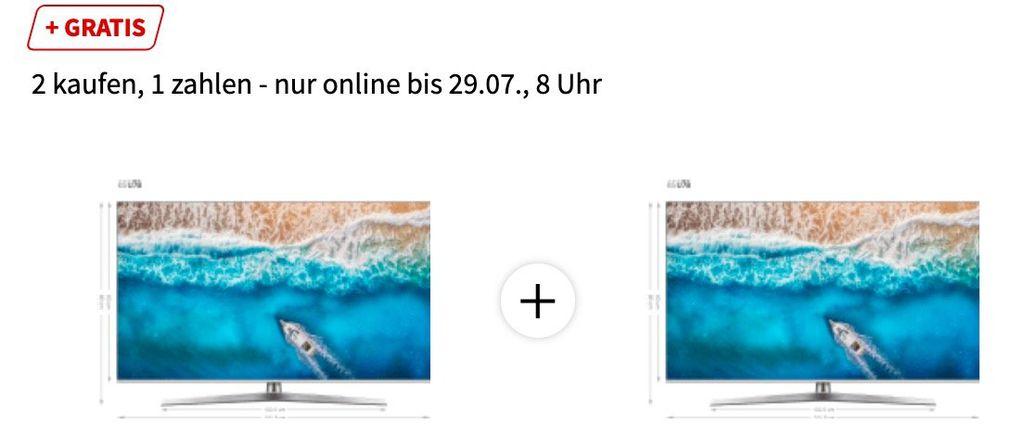 Online ausverkauft! 2er Pack Hisense H65 U7B   65 Zoll UHD Fernseher für 1.099€ (statt 1.662€)