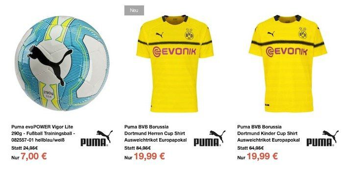 Sport 1A Sale + 10€ Gutschein ab 50€   z.B. Puma BVB Away Jersey 19/20 nur 45,55€ (statt 65€)
