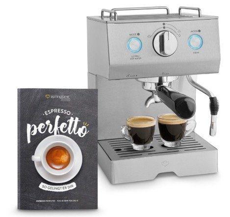 Springlane Perfetto Emilia Siebträger Espressomaschine mit 15 bar für 49€(statt 80€)