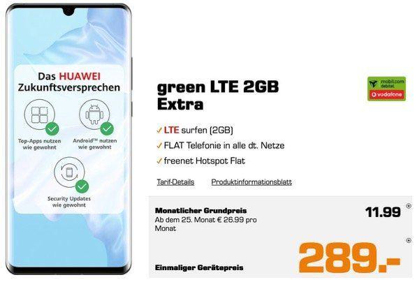 🔥 Knaller: Huawei P30 Pro für 289€ + Allnet Flat Vodafone 2GB LTE für 11,99€ mtl.   auch P30 und Mate20