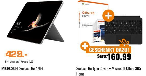 Microsoft Surface Go 4GB + 64GB SSD + Type Cover + Office 365 Home für 429€ (statt 506€)