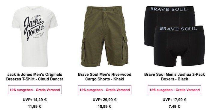 Zavvi Klamotten Sale + VSK frei schon ab 12€   z.B. Brave Soul Uganda Jeans Shorts nur 10,99€(statt 21€)