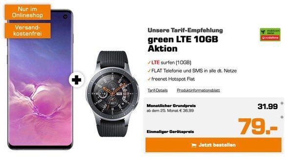 Samsung Galaxy S10 inkl. Galaxy Watch 46mm für 79€ + Vodafone Tel + SMS Flat mit 10GB LTE für 31,99€ mtl.