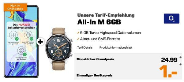 Huawei P30 mit Watch GT für 1€ + O2 Allnet Flat mit SMS und 6GB LTE für 24,99€ mtl.