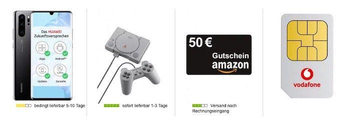 Huawei P30 Pro + Playstation Classic + 50€ Amazon für 5€ + Vodafone Allnet Flat mit 10GB LTE für 36,99€mtl.
