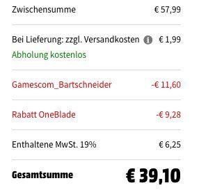 Philips OneBlade Pro Rasierer QP6505/20 für 39,10€ (statt 54€)