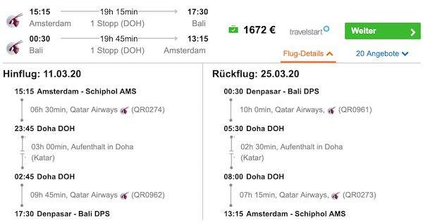 Bali: mit Qatar Airways von Amsterdam nach Denpasar und zurück in der Business Class ab 1.672€