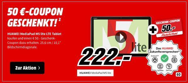 Huawei Mediapad M5 Lite 10.1 mit 32GB und LTE für 222€ (statt 220€) + 50€ MM Gutschein