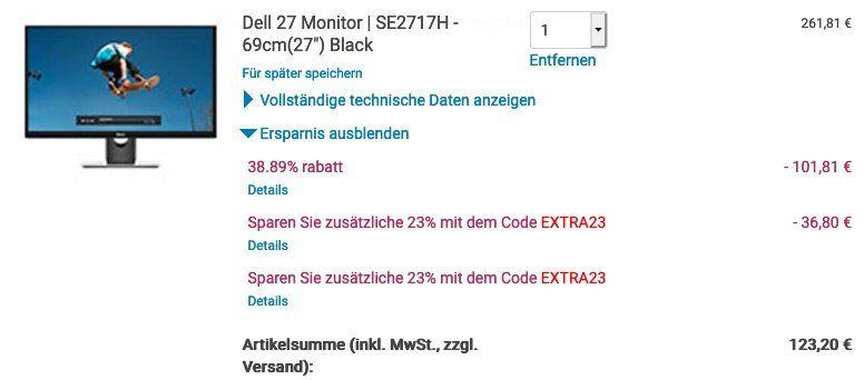 DELL SE2717H   27 Zoll Full HD IPS Monitor für 123,20€ (statt 169€)
