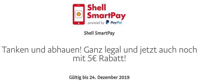 Gratis Benzin oder Diesel für 5€ dank Paypal Gutschein via Shell SmartPay