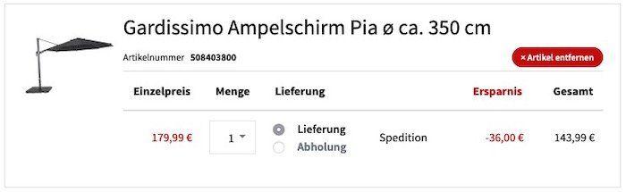 Abgelaufen! Gardissimo Ampelschirm Pia 350cm für 178,99€ (statt 422€)