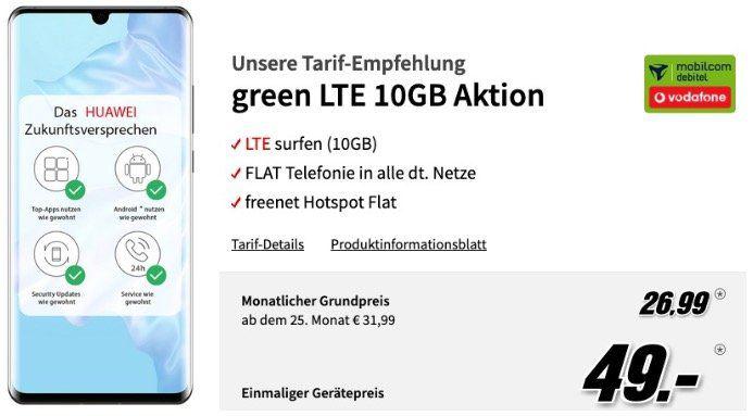 Huawei P30 Pro + Band 4 Pro + Waage nur 49€ + Vodafone Flat mit 10GB LTE50 für 26,99€ mtl.