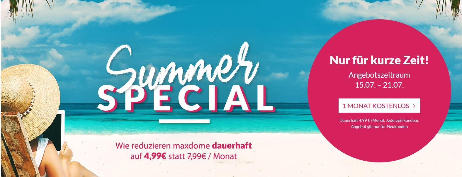 cooles Maxdome Summer Special: dauerhaft für 4,99€ mtl. streamen