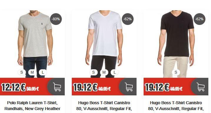 Top12 letzte Größen Ausverkauf: z.B. Polo Ralph Lauren graues Rundhals T Shirt  ab nur 12,12€