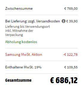 SAMSUNG QuickDrive WW81M642OPW Waschmaschine mit 8 kg, 1400 U/Min., A+++ ab 646,22€ (statt 786€)