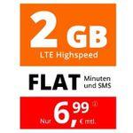 Sim.de o2 Flat mit 2GB LTE für 6,99€monatlich kündbar – mit Laufzeit 3 Monate gratis