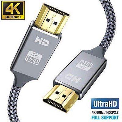 Snowkids HDMI Kabel 2m Ultra Highspeed 18Gbit in Grau für nur 4,49€ (statt 9€)