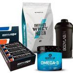 Impact Whey (1kg) + 12x Bodylab Protein Bar + 120 Kapseln Bodylab Omega-3 + Shaker für 26,25€ (statt 35€)