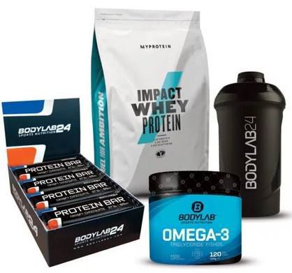 Impact Whey (1kg) + 12x Bodylab Protein Bar + 120 Kapseln Bodylab Omega 3 + Shaker für 26,25€ (statt 35€)
