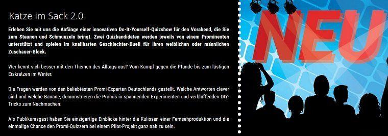 Nur für MÄNNER: Freikarten für die Show Katze im Sack 2.0 in Köln