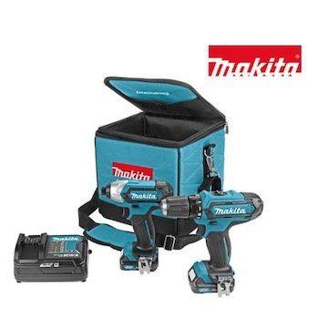 Makita Set CLX201SA (Bohrschrauber, Schlagschrauber, 2x Akku, Ladegerät und Tasche) für 158,90€ (statt 210€)