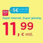 eazy Internet-Zugang (Unitymedia) mit 20 Mbit/s für 11,99€ mtl. – oder 50 Mbit/s für 16,99€ mtl.