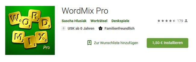 Android: WordMix Pro gratis (statt 1,50€)