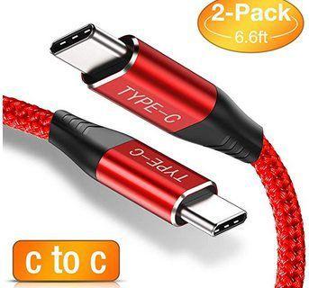 Doppelpack: USB C auf USB C 2m Kabel in Rot für 4,96€   Prime