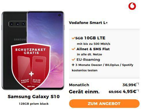 Samsung Galaxy S10 für 4,95€ + Vodafone Smart L mit 10GB LTE für 36,99€ mtl.   junge Leute 15GB LTE
