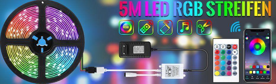 Ausverkauft! 5m LED Streifen mit APP Steuerung inkl. Fernbedienung, Adapter & Controller für 7,60€ – Prime