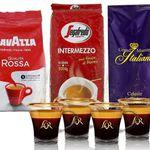 3x 1kg Lavazza, Segafredo, Grand Maestro Italiano + 4  L'OR Espresso-Gläser für 39,99€ (statt 70€)