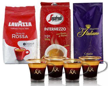 3x 1kg Lavazza, Segafredo, Grand Maestro Italiano + 4  LOR Espresso Gläser für 39,99€ (statt 70€)