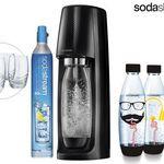 SodaStream Spirit Wassersprudler + 3 Flaschen + 4 Gläser + CO2-Zylinder für 65,90€ (statt 84€)