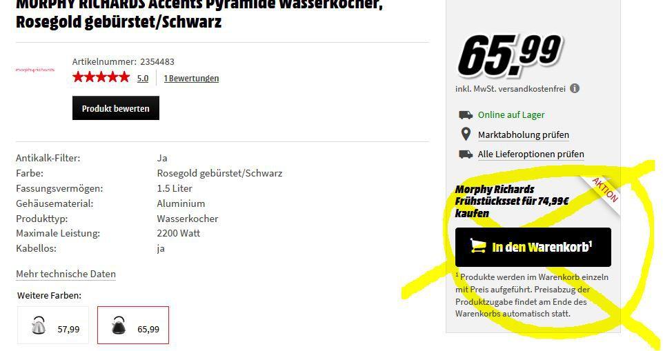 Knaller! MORPHY RICHARDS Bundle: Wasserkocher + Toaster + Zubehör für 74,99€ (statt 127€)