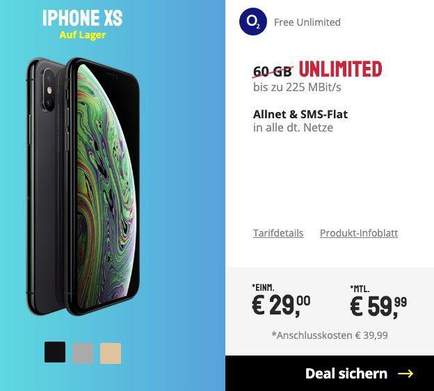 iPhone XS mit 64GB für 29€ + o2 Free Unlimited mit unendlich LTE Datenvolumen für 59,99€mtl.