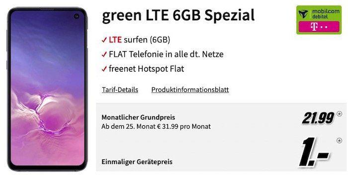 Samsung Galaxy S10e für 1€ + Telekom Flat mit 6GB LTE für 21,99€mtl.