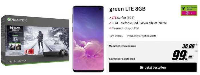 Samsung Galaxy S10 + Xbox One X Metro Exodus Bundle nur 1€ + Telekom Flat mit 8GB LTE für 36,99€ mtl.