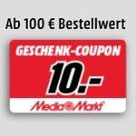 Media Markt: Abholung statt Versand und 5€ bzw. 10€ Coupon gratis bekommen (ab 50€/100€)