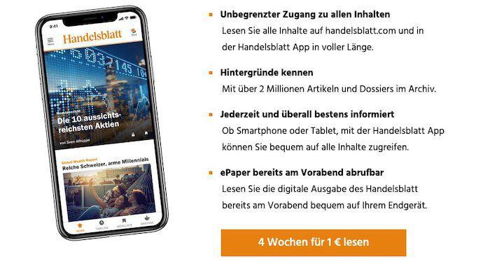 Handelsblatt Premium (digital) 4 Wochen für 1€ testen (statt 35€)
