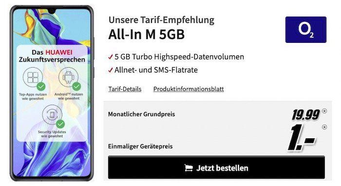 Huawei P30 für 1€ + o2 Allnet Flat mit 5GB LTE für 19,99€ mtl.