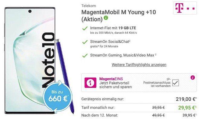 Junge Leute mit Magenta1: Samsung Galaxy Note 10 für 219€ + Telekom Flat mit 19GB LTE für 34,95€mtl.