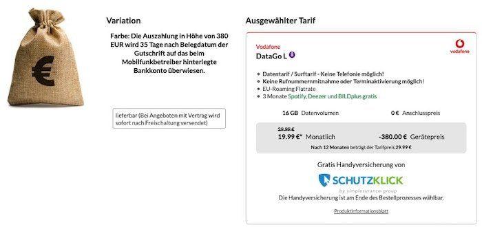 Vodafone Data Go L mit 16GB LTE (bis 500 Mbit/s) für 19,99€ mtl. (dank Auszahlung eff. 9,16€)