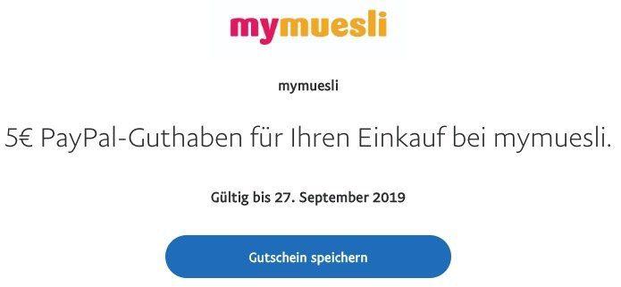 5€ Rabatt bei mymuesli über Paypal ohne MBW