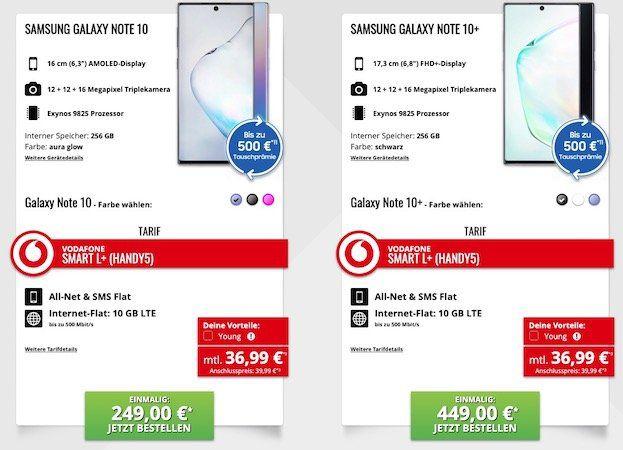 Samsung Galaxy Note 10 für 249€ oder Note 10+ für 449€ + Vodafone Flat mit 10GB LTE für 36,99€mtl.