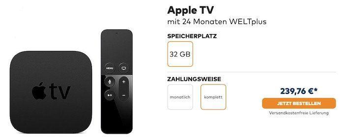 24 Monate WELTplus für 239,76€ + gratis Apple TV 4 (Wert 144€)