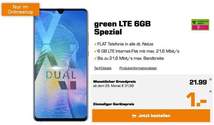 Pricedrop! Huawei Mate 20 X für 1€ + Telekom oder Vodafone Allnet Flat mit 6GB LTE für je 21,99€ mtl.