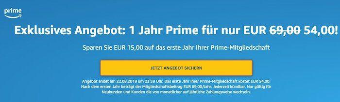 1 Jahr Amazon Prime für 54€ (statt 69€)   Neukunden oder Bestandskunden mit mtl. Zahlung