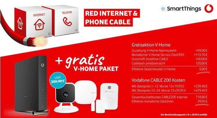 Vodafone RED Kabel Internet + Alarmsystem geschenkt   z.B. 200 MBit/s ab 29,94€ mtl.