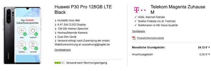Telekom Magenta Zuhause M mit Magenta TV für 39,95€ mtl. + 1 Jahr SKY gratis + Prämien für 5€   z.B. Huawei P30 Pro